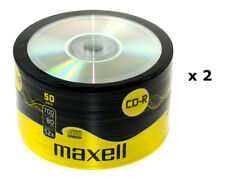 2 x MAXELL CD-R Cased Recordable Blank CDs PC Laptop Computer 50 Pack