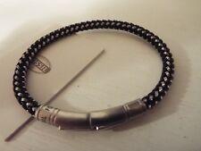 New Men's Rare Fossil Bracelet black & stainless steel