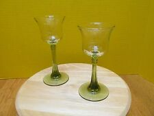 2 Vintage cordial glasses Olive green stems Could be used as candle holders