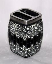 Large Black Mirror Mosaic Tiles Chrome 2-Hole Square Toothbrush Holder NEW
