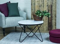 Marble COFFEE TABLE - genuine white round top & black metal, modern design