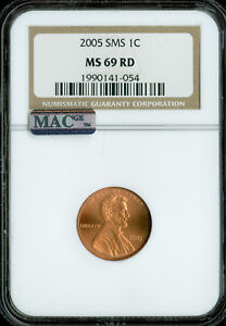 2005 LINCOLN CENT NGC MS69 RED SMS PQ 2ND FINEST MAC SPOTLESS  *