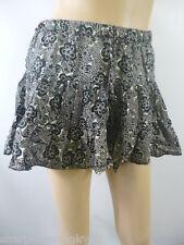 Ladies Black/Grey Flower Print 100% Cotton Mini Skirt UK 8 EU 36