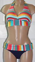 NEW Anne Cole Multicolor Striped Halter Bikini Set size M Medium Navy Multi