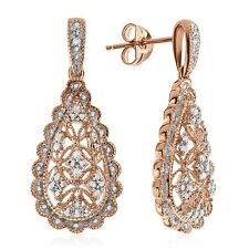 Natural Diamond Accent Dangle Earrings in Rose Gold-Plated Sterling Silver