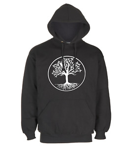 BLACK PULLOVER HOODIE TREE WITH ROOTS IN CIRCLE SWEETSHIRTS FOR KIDS MEN / WOMEN