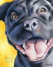 BLACK PIT BULL TERRIER Art Print 8 x 10 Signed by Watercolor Artist DJ Rogers