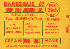 PINK FLOYD JIMI HENDRIX CREAM REPRO 1967 BARBEQUE 67 CONCERT TICKET SYD BARRETT