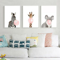 Animal Koala Giraffe Zebra Canvas Poster Nursery Wall Art Print Kids Room Decor