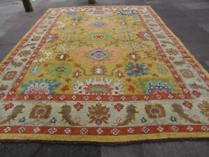 Vintage Traditional Hand Made Turkish Oushak Oriental Wool Gold Carpet 395x286cm