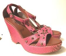 ISABELLA FIORE VIRILE WOMENS PINK STUDDED PYTHON LEATHER WEDGE SANDALS SHOES 10