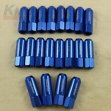 BLUE 20PCS 12X1.25MM 60MM EXTENDED FORGED ALUMINUM TUNER RACING LUG NUT