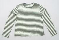 Monki Womens Size M Striped Cotton Blend Green Top (Regular)