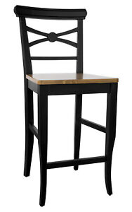 Barstuhl Barhocker mit Lehne Hocker Buche Massiv schwarz Sitzholz H-67 cm *FB011