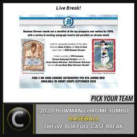 2020 BOWMAN CHROME JUMBO BASEBALL 12 BOX FULL CASE BREAK #A936 - PICK YOUR TEAM