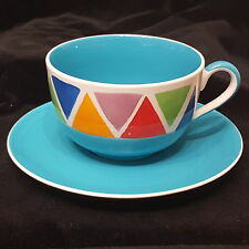 Whittard Jumbo China Coffee Cup Cappachino Multi Coloured Triangles In Blue np