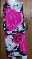Sandra Darren Dress Womens Size 12 Pink Black White Rose Floral Sleeveless