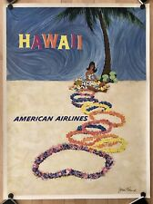 Original Vintage Poster AMERICAN AIRLINES - HAWAII Airline Travel MCM By FERNIE