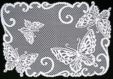 Butterflies 14x20 White Set Of (4) Lace Placemats Heritage Lace