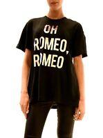 Wildfox Women's Oh Romeo Silver Print Top Tee NWT Black Size S