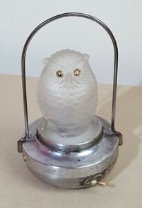 Vintage PifCo Art Deco Frosted Glass Owl Night Light, c.1930's, Tested & Working