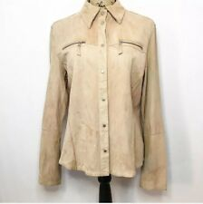 Gimo's Leather Shirt 46 L Tan Suede Button Up