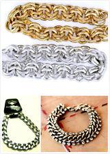 Punk biker gold / silver coloured solid chain bracelet