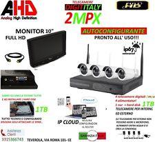 KIT VIDEOSORVEGLIANZA TELECAMERE WIRELESS NVR 4 TELECAMERA +MONITOR 10 +HD1000GB