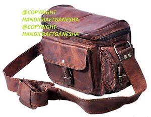 "11"" Leather DSLR Camera Messenger Handbag Crossbody Sony Canon Nikon SLR Bag"