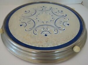 VTG Round Metal Lazy Susan Tray Reverse Painted -Blue & Silver - 13'