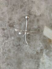 14k White Gold Dragonfly Belly Button Navel Piercing Ring