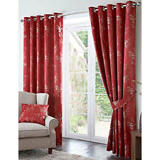 """Tokyo 3 Pass Blackout Ring Top Eyelet Heading Curtains or Matching Cushions Red 90x90"""" (229x229cm)"""