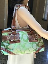 Designer Inspired New Fashion Faux Leather And Denim Handbag Green/ Brown