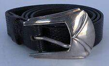Vintage Southwest sterling silver belt buckle, LUC BENOIT Lizard leather belt