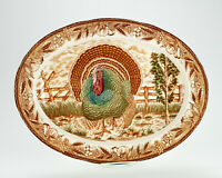 "Eddie Bauer Large Oval Turkey Platter, Vintage Brown Transfer 18 1/2"" by 14"""