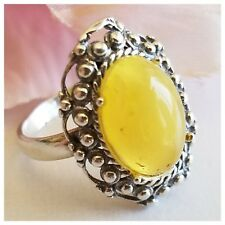 NATURAL LARGE BUTTERSCOTCH Royal White BALTIC AMBER 925 SILVER RING 3.7g Size 6