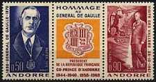 Andorra French 1972 SG#F243-4 Gen De Gaulle MNH Set + Label #D71785