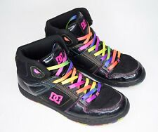 Rare DC Womens Size 10 Rebound High LE Sneaker Skate Shoes Neon Black 303400