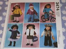 "McCALL'S 3474 DOLL CLOTHES FOR 18"" AMERICAN GIRL DOLLS PATTERN-UNCUT"