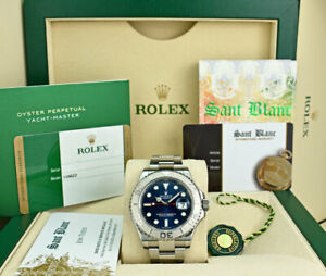 Rolex 2014 Platinum & SS Yachtmaster Blue Dial BOX CARD PAPERS 116622 SANT BLANC
