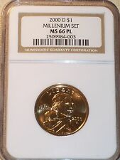 2000-D Sacagawea Dollar Millennium Set NGC MS 66 PL ONLY 75,000 MINTED !