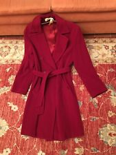 SISLEY red Double Breasted Wool Coat Excellent Condition