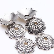 200Pcs Tibetan Silver Zinc Alloy Metal Flower End Bead Caps Craft 8mm Jewelry