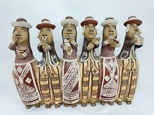 Pottery, Three Figurines Musicians, WHISTLE, Folk Art Peru Clay Music Instrument