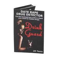 Drink Guard Date Rape Drug  Detector 10 Cards/20 Tests Stop Sexual Assault NOW