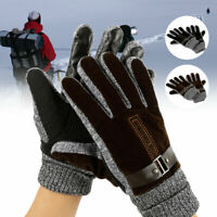 Mens Winter Warm Gloves Real Leather Thicken Waterproof Windproof Thermal Gloves