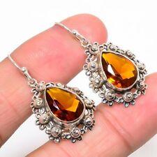 """Brazilian Golden Topaz Oxidize 925 Sterling Silver Earring 1.42"""" JE487-20"""
