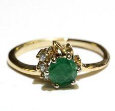 14k yellow gold .06ct SI1 H diamond emerald womens ring 2.7g estate vintage