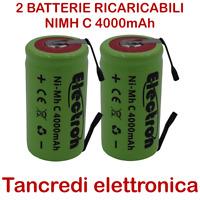 2 Batteria NiMh C mezza torcia 4000mAh 4Ah lamelle linguette tabs battery 3,5Ah