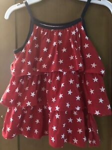 CARTER'S Girls Flounced Star Top-Size 5-NWT- Red/White/Blue